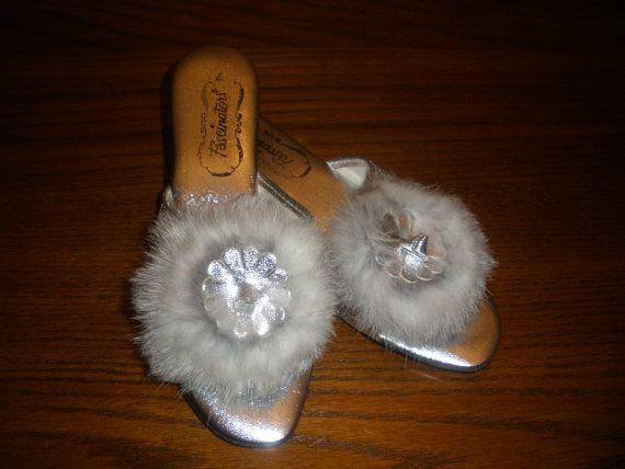 Vintage Womens 60s Boudoir Slippers House Shoes Mules Lingerie ...