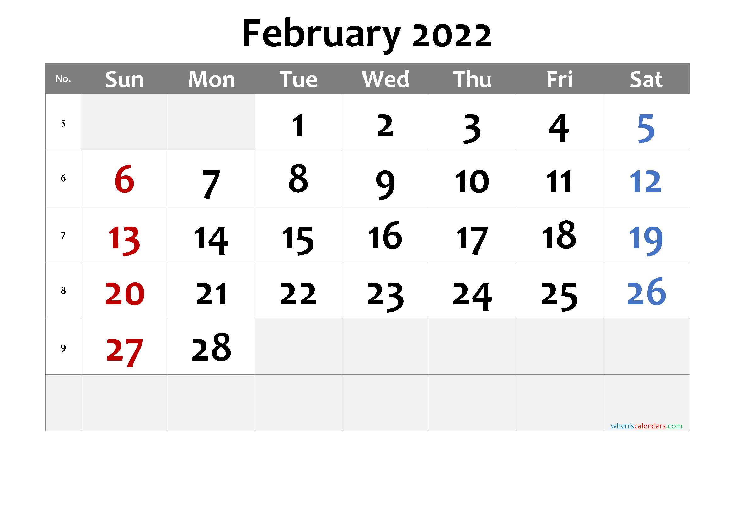 Unt 2022 Calendar.Free Printable February 2022 Calendar Premium Calendar Printables Printable Calendar Template 2021 Calendar