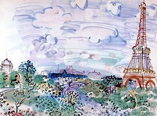 Raoul Dufy - Eiffel Tower watercolor