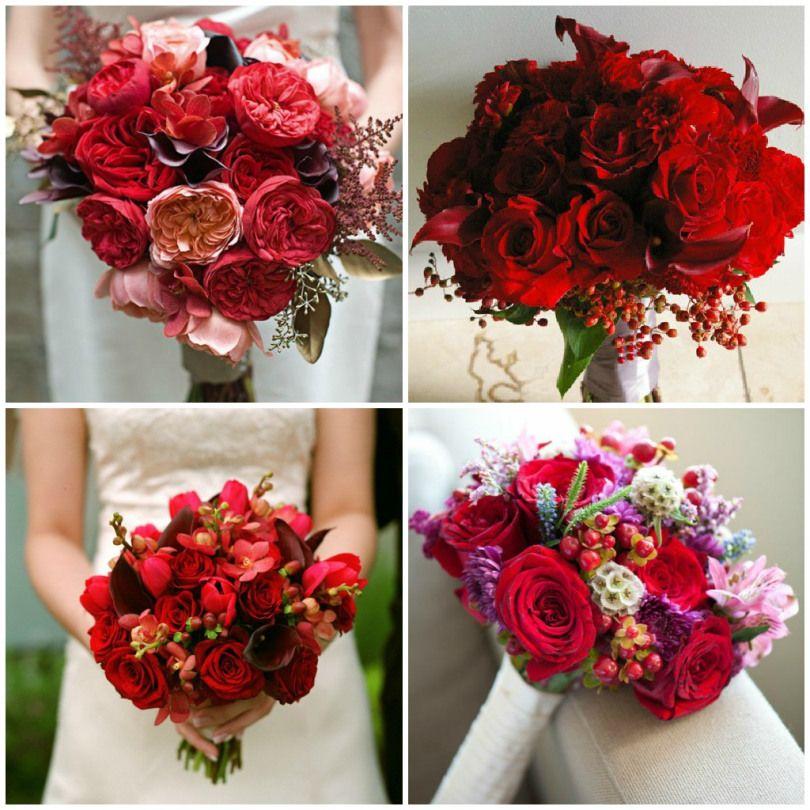 cuatro opciones frescas para tu ramo | rojo | ramos de novia, ramos