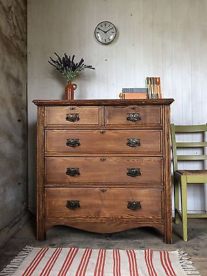 #Edwardian scws solid ash arts and crafts chest of drawers with #tinplate #handle,  View more on the LINK: http://www.zeppy.io/product/gb/2/201577736705/