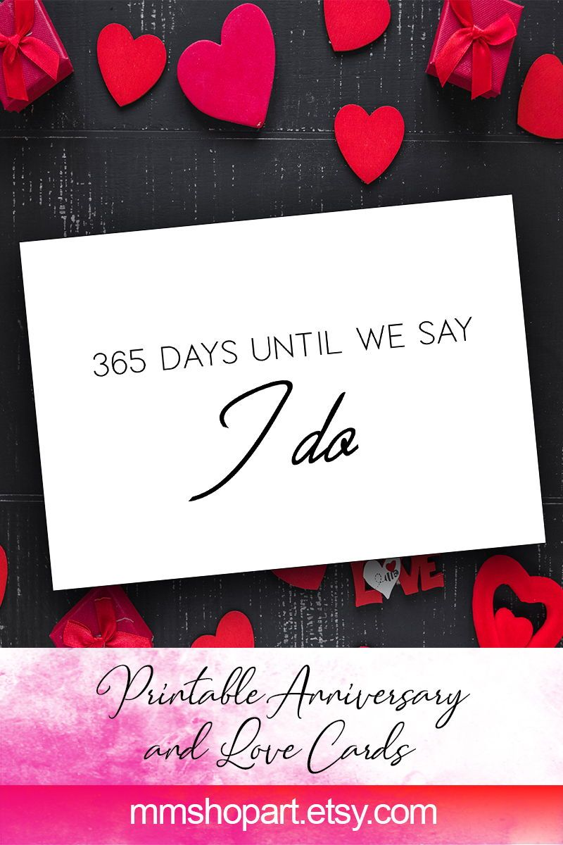 1 Year 365 Days To Go Until You Are My Husband Wedding Card