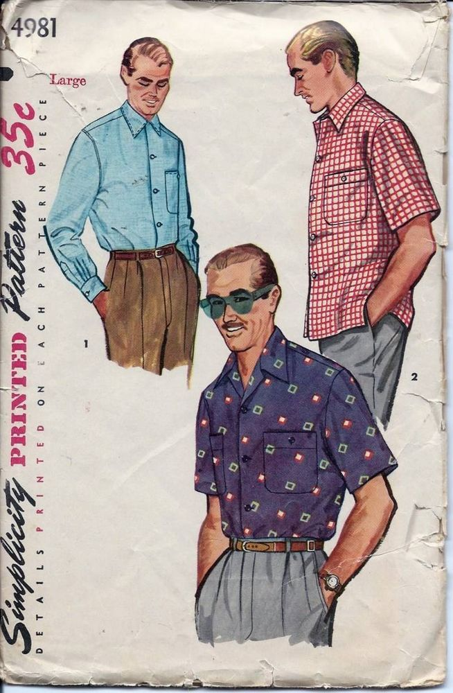 Vintage 50s Mens Sport Shirt Sewing Pattern Simplicity