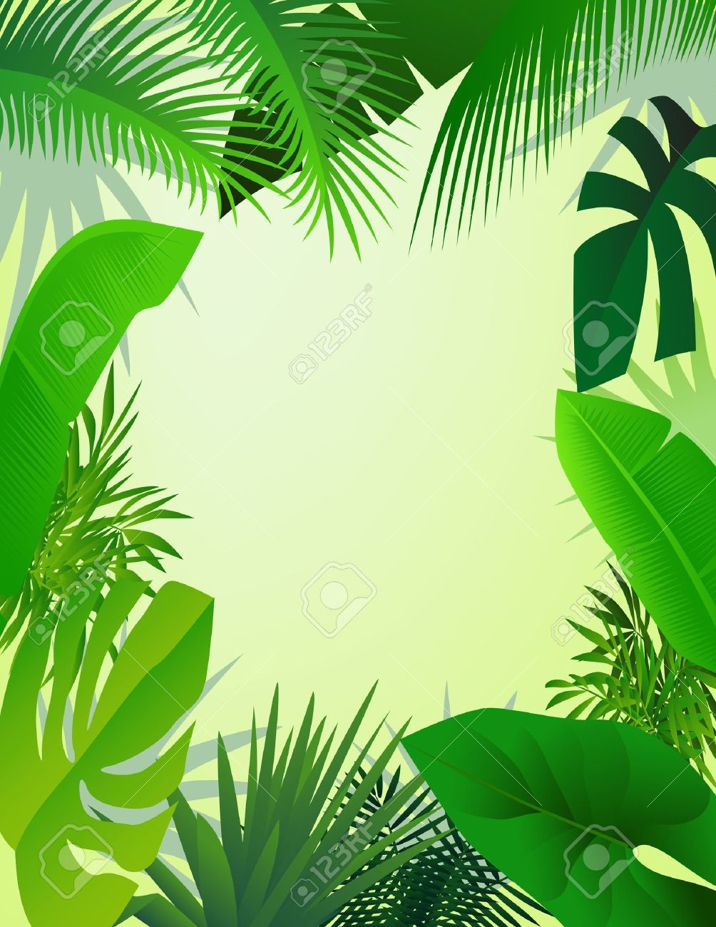 Stock Vector Illustration, Frame, Plant leaves
