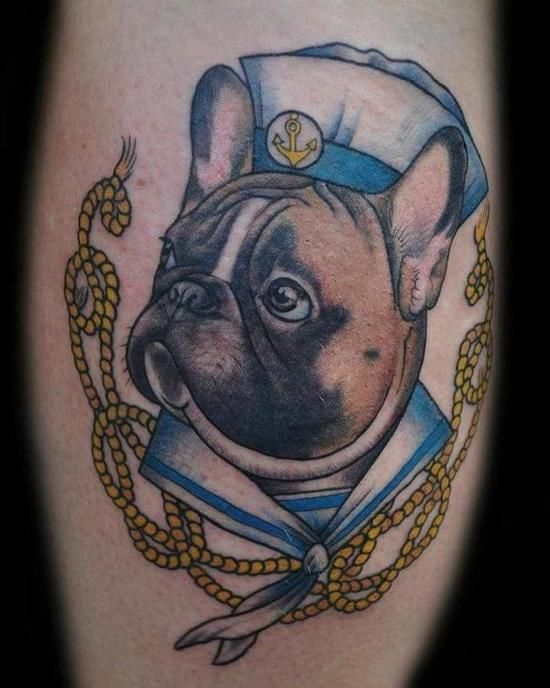 My friend just got a tattoo of her dog as a sailor. Pretty much the best thing I've ever seen. - Imgur