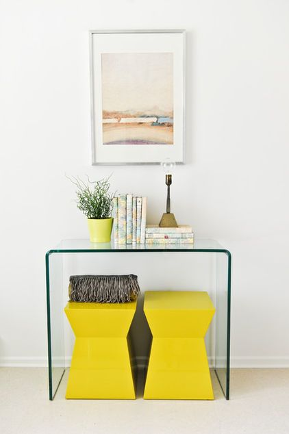 Clear Console Table And Yellow Stools By The Front Door Will Work