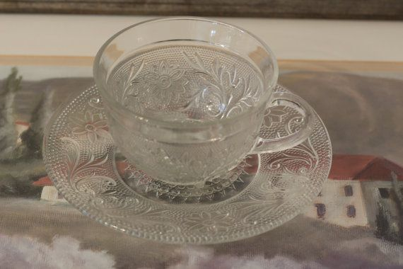 Cup and Saucer Sandwich Depression Glass  Glass by CatChristie, $7.99