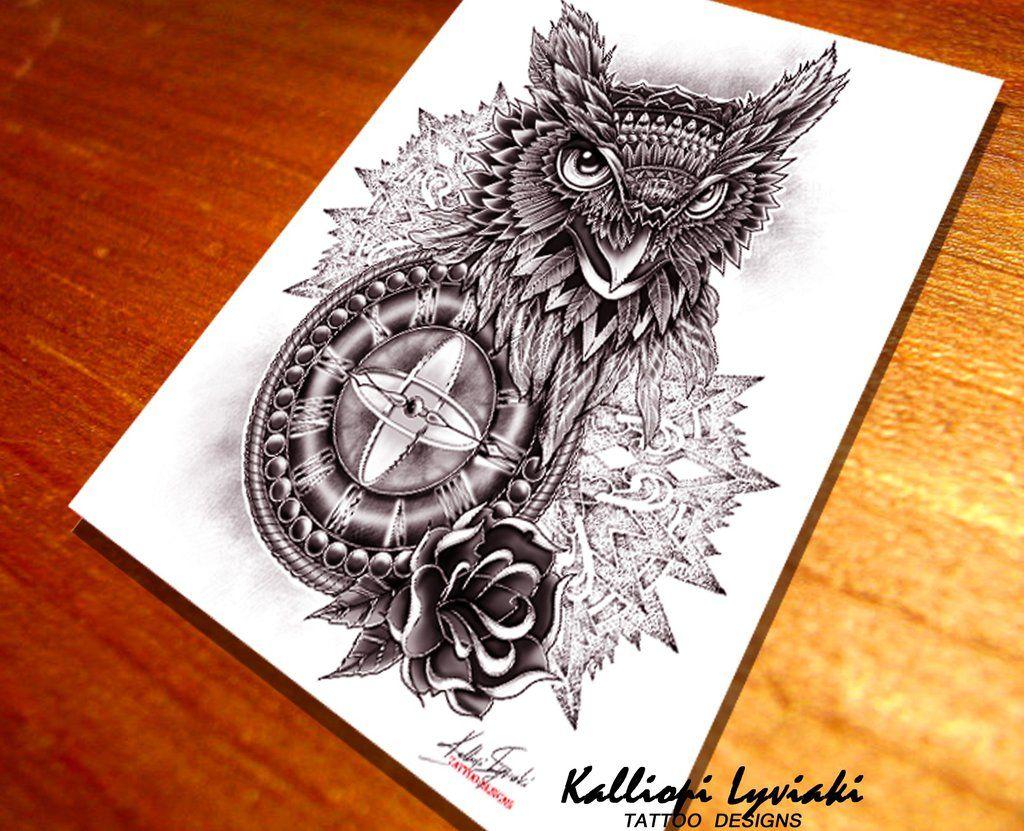 New school tattoo design - New School Owl Tattoo Design By Klsketches Watch Digital Art Drawings