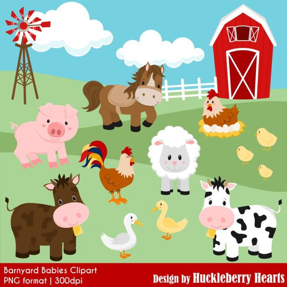 80 Off Sale Farm Clipart Barnyard Clipart By Huckleberryhearts Barn Animals Barnyard Animals Farm Animals