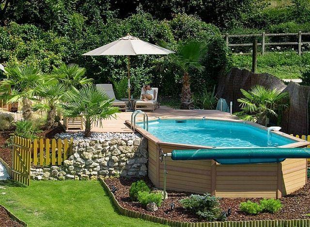 piscine hors sol avec des palmiers et petit jardin GARDEN - POOL - amenagement jardin avec spa