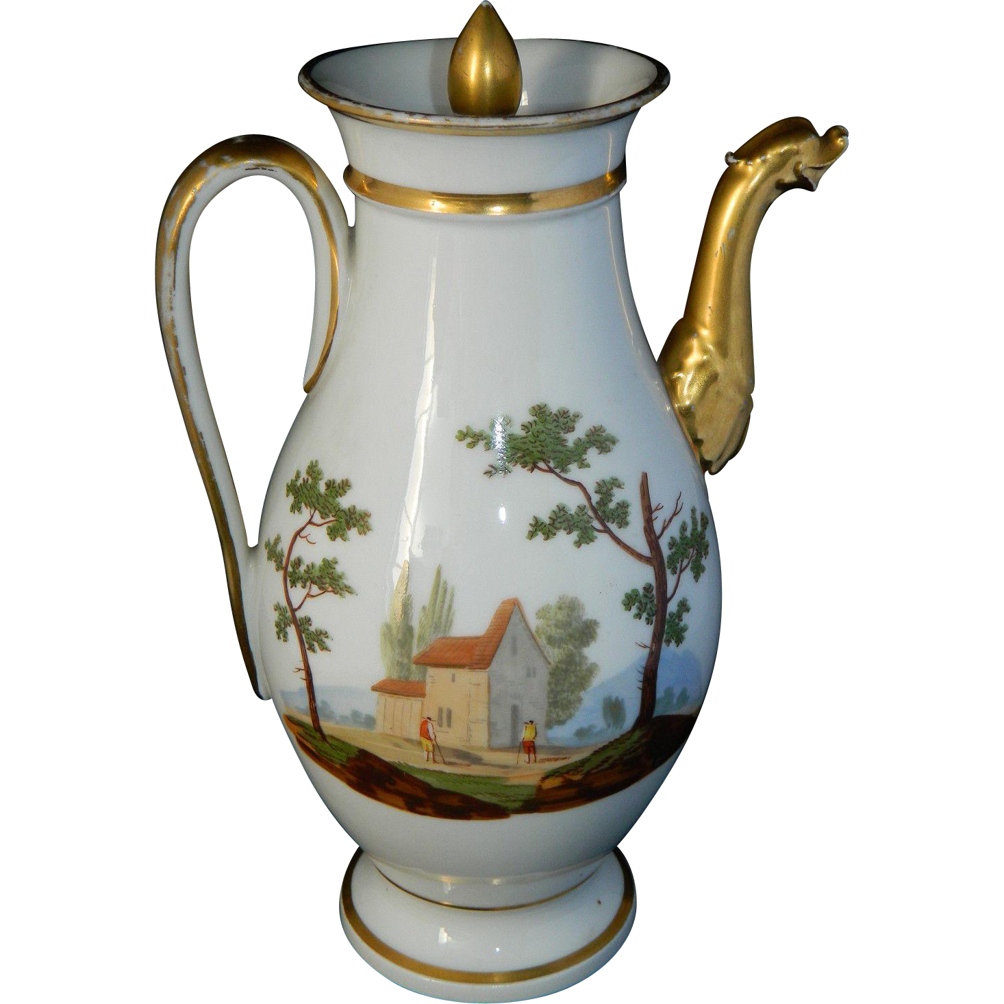 Antique 1820 French Old Paris Empire era hand painted