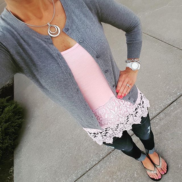 Lace tank top with a gray cardigan | www.wearitforless.com