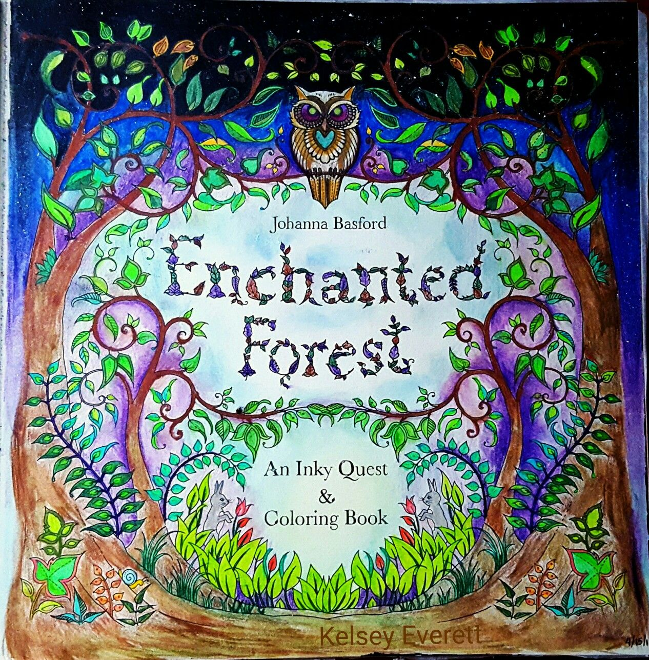 Johanna Basford S Enchanted Forest Title Page Colored By Kelsey Everett Enchanted Forest Coloring Book Forest Coloring Book Enchanted Forest Coloring
