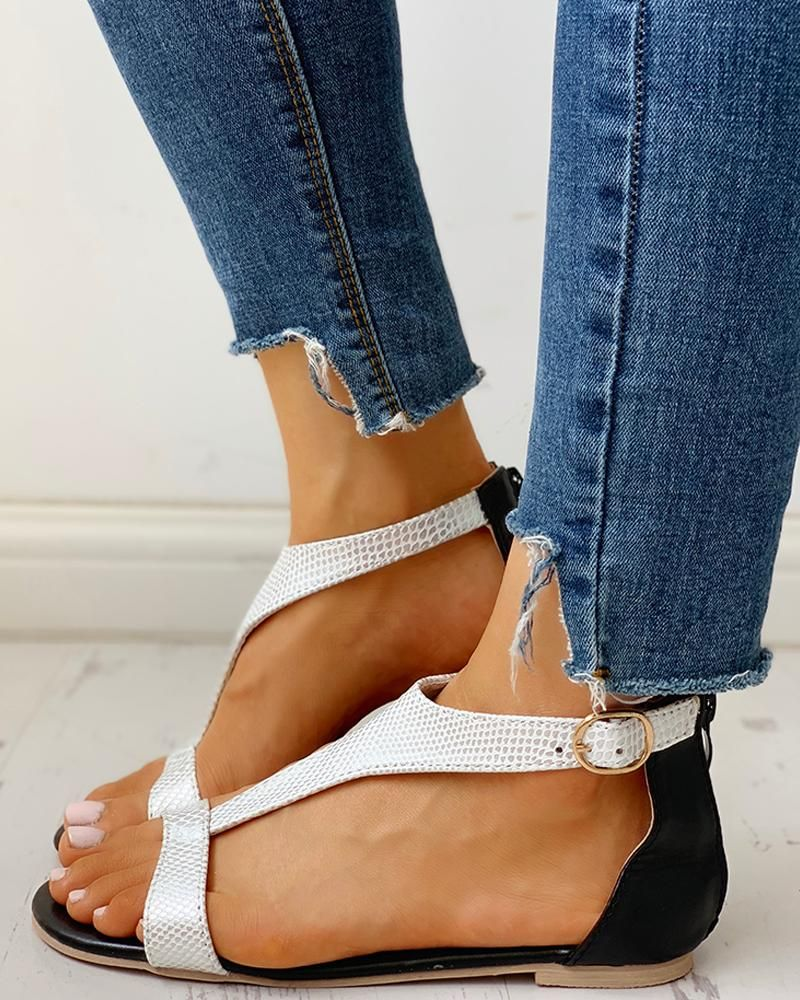Open Toe TStrap Design Flat Sandals Open Toe TStrap Design Flat Sandals
