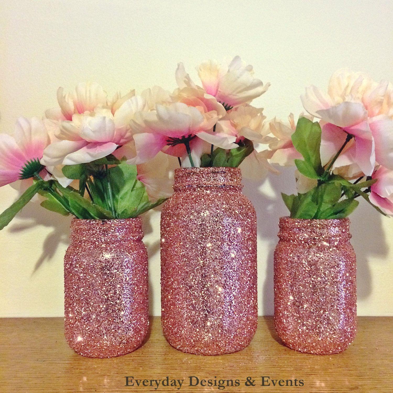 Rose gold mason jars wedding glitter