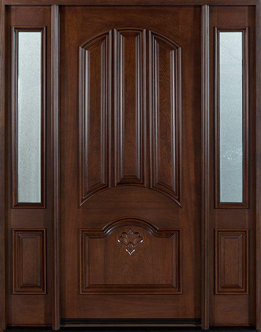 Puerta principal clásica de madera de caoba - Individual con 2 luces laterales - DB-516 2SL CST