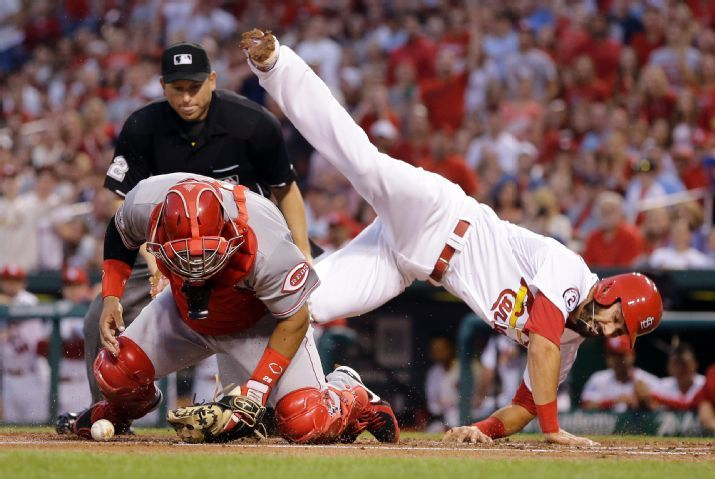 Matt Carpenter Is Safe At Home As He Flips Over Cincinnati Reds Catcher Brayan Pena During The First In St Louis Cardinals Baseball Cardinals St Louis Baseball