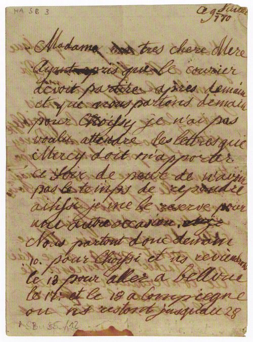 Letter written by Marie Antoinette to her mother Empress Maria