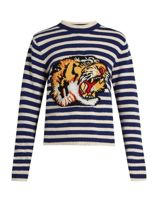 89b7b8f93c0 GUCCI Tiger-Appliqué Striped Wool Sweater.  gucci  cloth  sweater ...