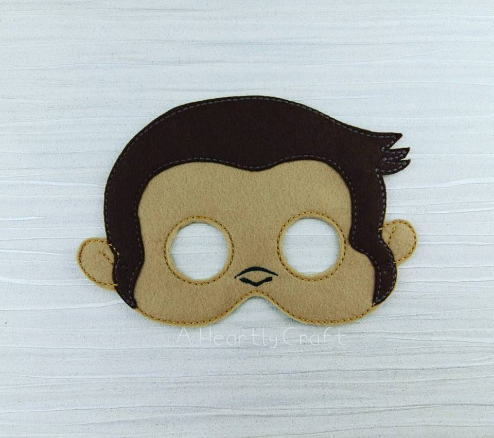 Monkey Felt Mask - Monkey Mask - Felt mask - Jungle Animal Mask ...
