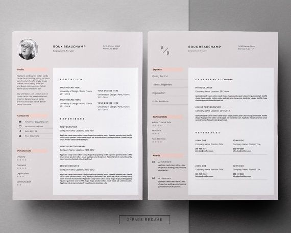 Stylish Resume With Photo Creative Resume Template Word Etsy In 2020 Resume Design Free Resume Template Resume Design