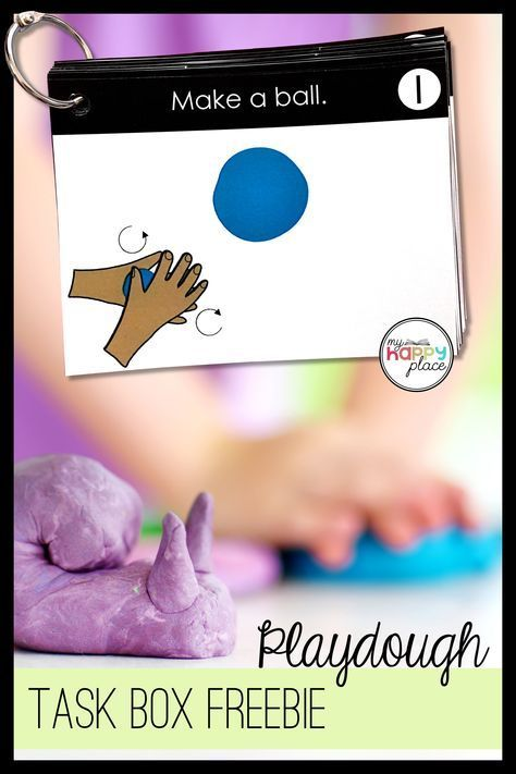 Free Playdough Task Cards Fine Motor Skills Box Activity - This resource is great for kindergarten or preschool!