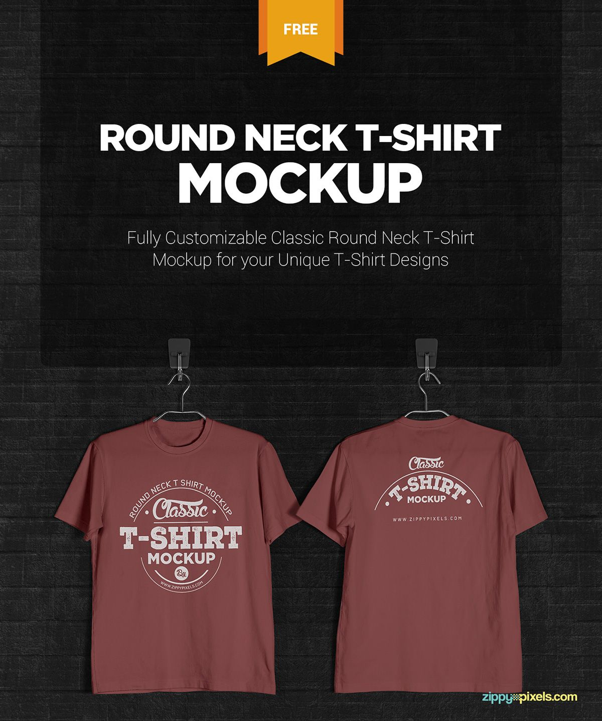 Free T Shirt Mockup Round Neck On Behance Tshirt Mockup Shirt