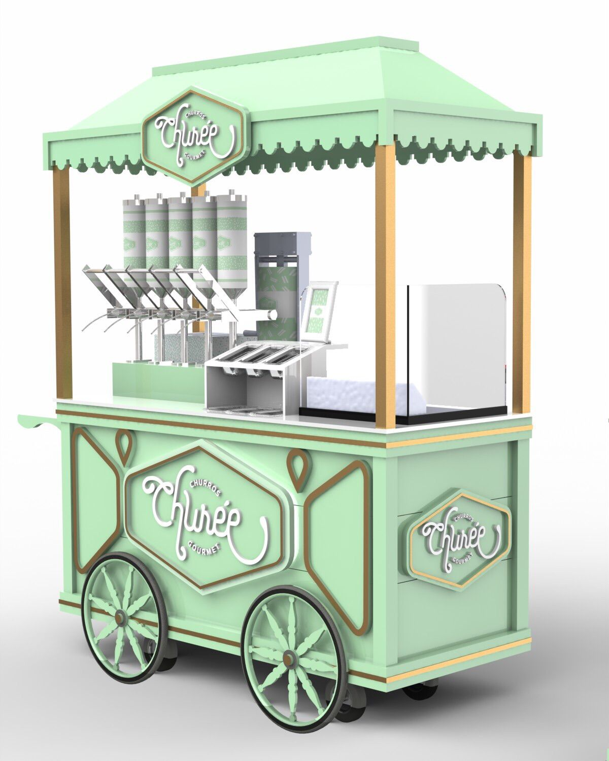 A vez do churro gourmet food truck churros and kiosk for Coffee cart design
