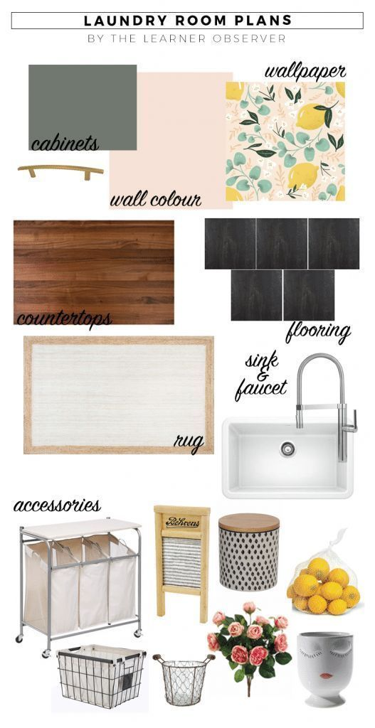 Laundry room mood board with pink walls, lemon wallpaper