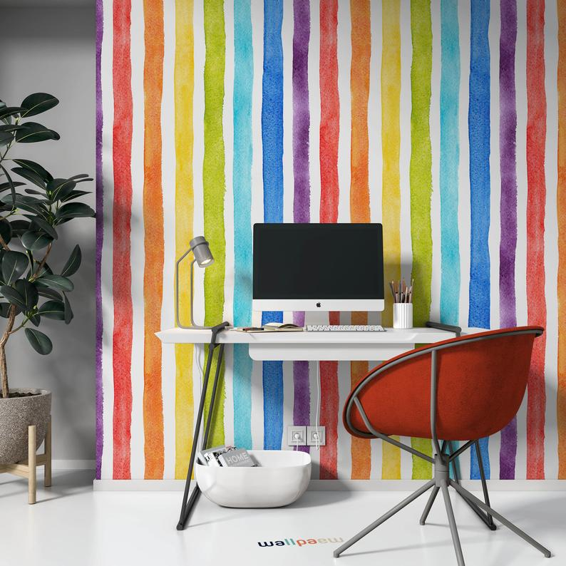 Watercolor Multicolor Bright Rainbow Colors Vertical Stripes Wallpaper Self Adhesive Peel And Stick Wall Decoration Removable Striped Wallpaper Stripe Wallpaper Bedroom Wall Coverings