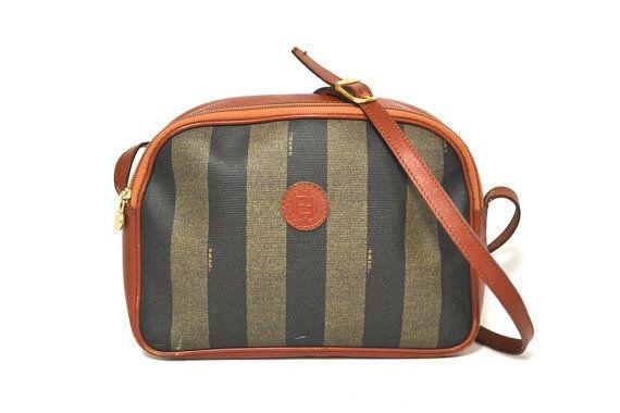 a8d3021d7260 Vintage FENDI Bag - Black Striped Authentic Leather   Canvas Shoulder  Messenger Purse