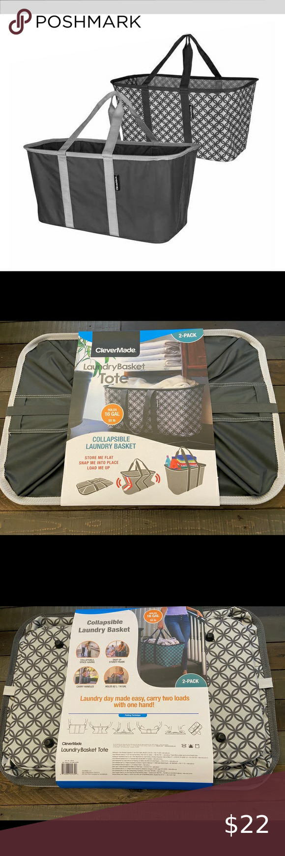 New Clevermade Collapsible Laundry Tote 2pk Laundry Day Made Easy