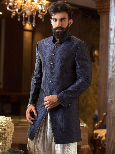 dd78484379 Navy Blue Terry Rayon Embroidered Jodhpuri Sherwani | India ...