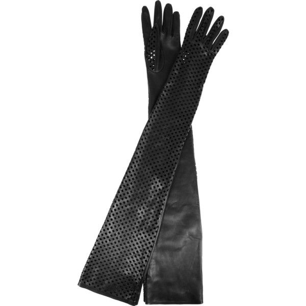 Versace Long perforated leather gloves ($850) found on Polyvore