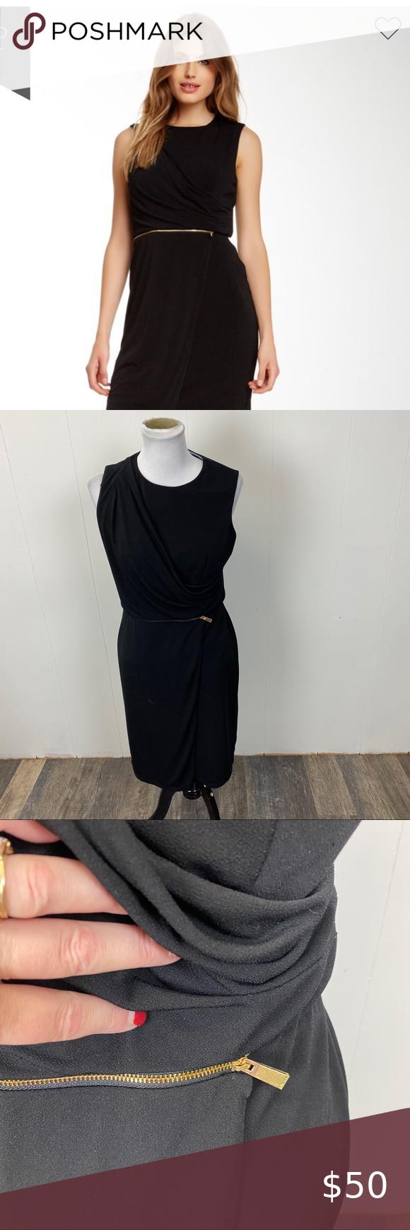 Vince Camuto Black Drape Midi Dress Draped Midi Dresses Zip Dress Midi Dress [ 1740 x 580 Pixel ]