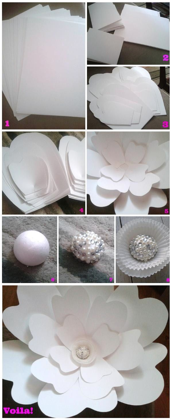 Step By Step Instructions To Make Your Own Large Paper Flower Via
