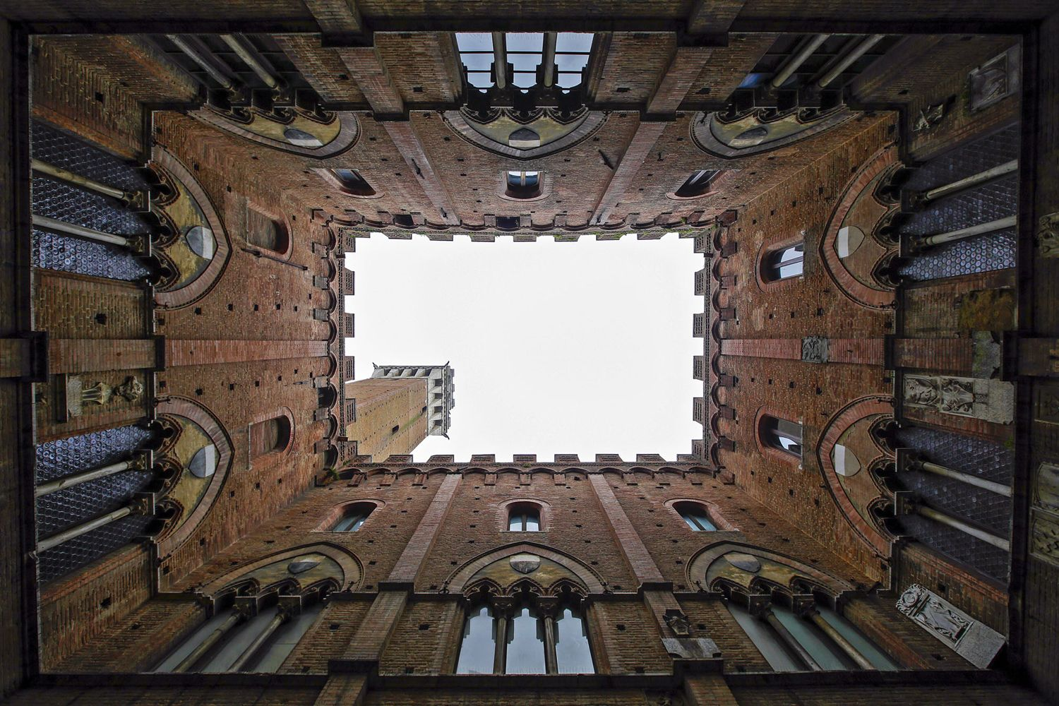 The town hall of the Mangia Tower is seen in Siena, Italy, on January 29, 2016