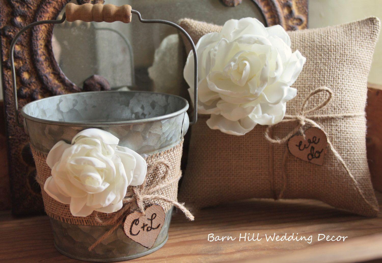 Flower girl basket bucket ring bearer pillow set wedding rustic flower girl basket bucket ring bearer pillow set wedding rustic wedding burlap shabby chic basket and pillow set by barnhillweddingdecor on etsy izmirmasajfo