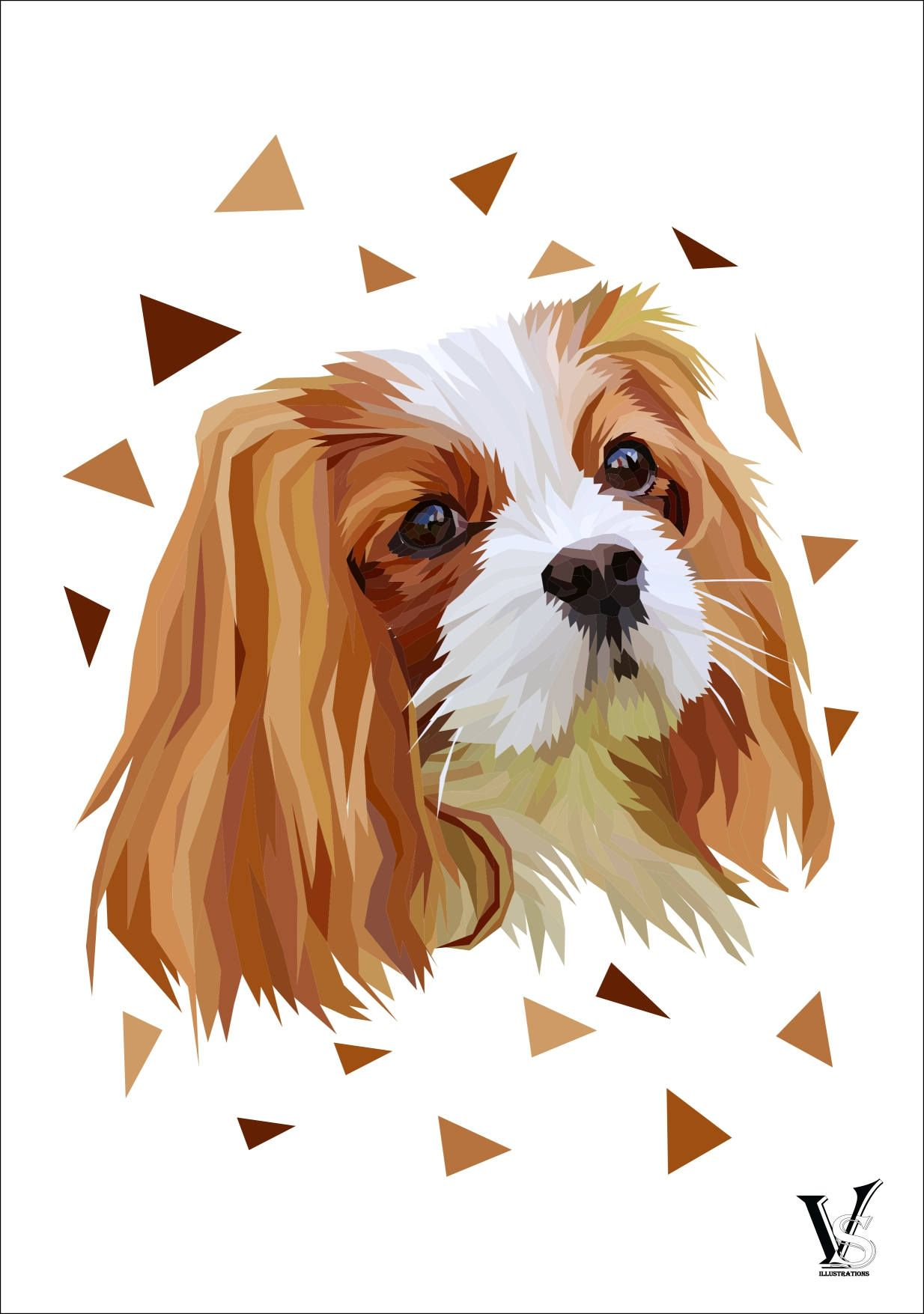 Custom Dog Portrait From Photo Low Poly Ilration Pet Gift