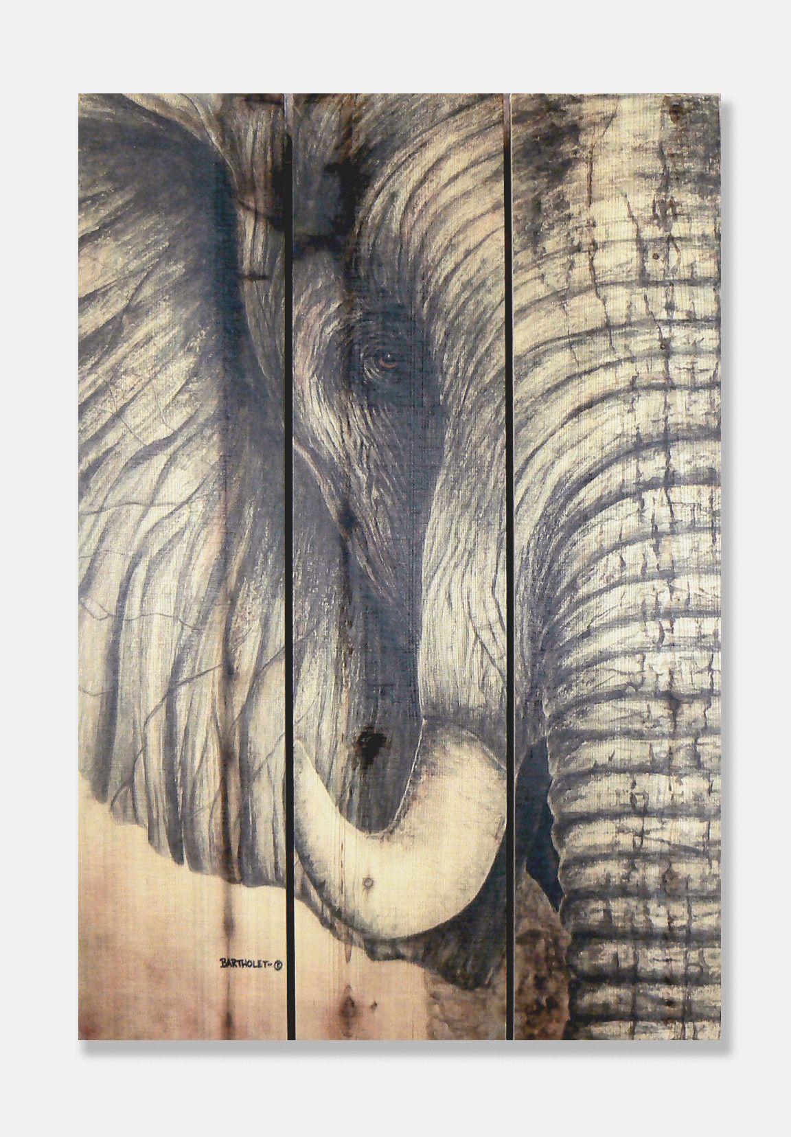 Signature 1 African Elephant Cedar Painting Print On Cedar Outdoor Wall Art Metal Tree Wall Art Elephant