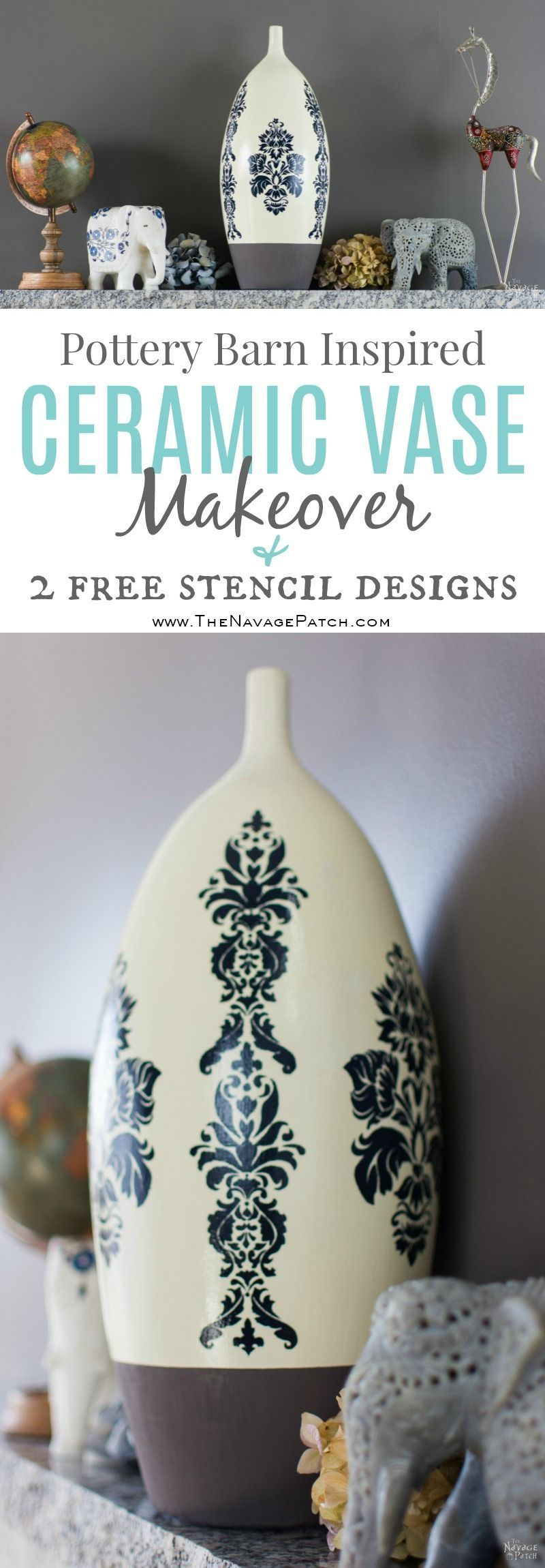 ceramic vase makeover inspired by pottery barn free printable