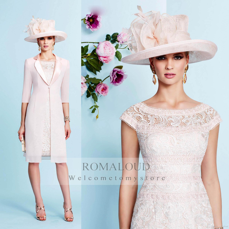 2015 Sheath Off The Shoulder Cap Sleeves Mother Of Bride Dresses With Jacket Lace Knee Length For Eve Bride Clothes Bride Dress Vintage Evening Dresses Vintage