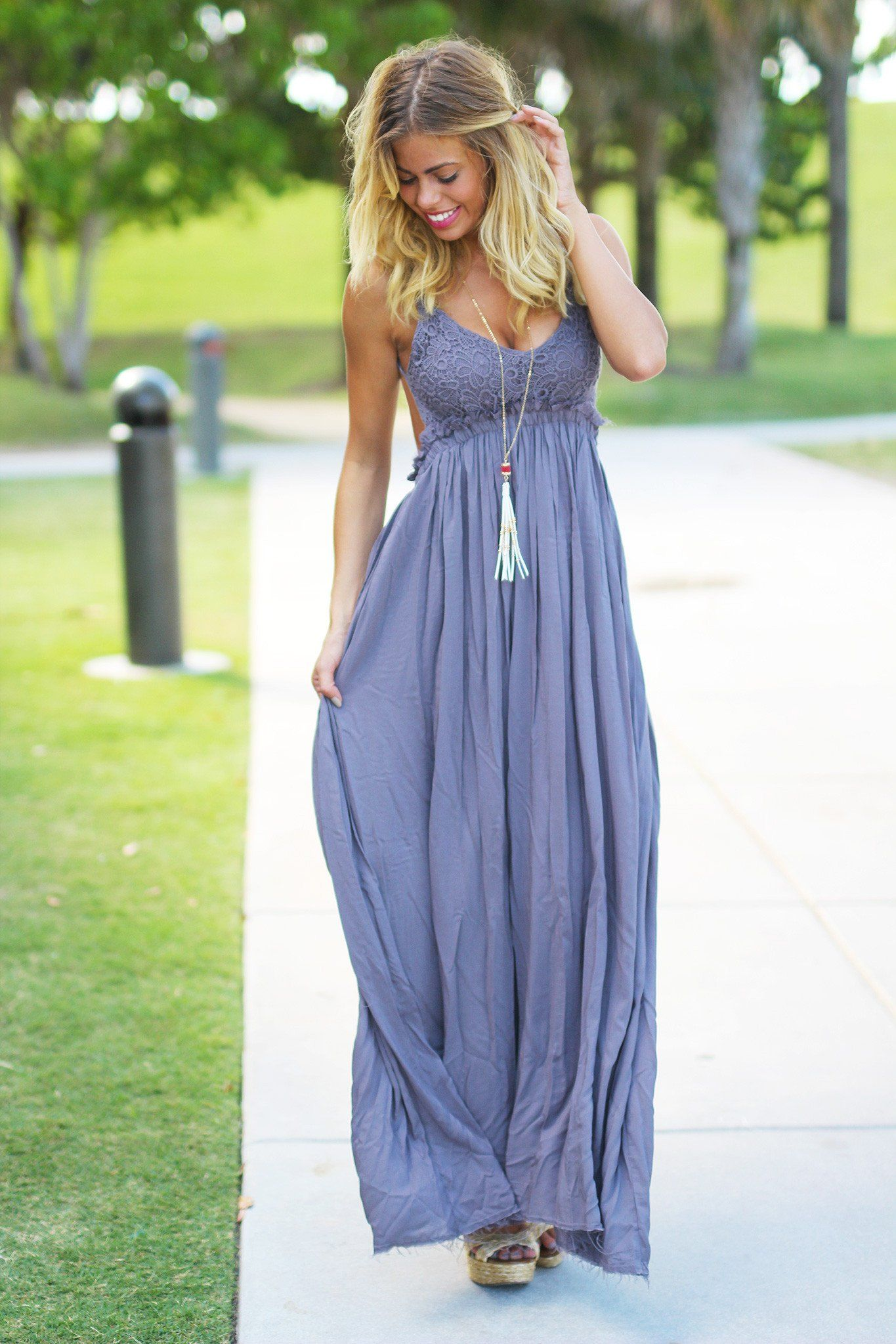 Midnight Lace Maxi Dress with Open Back and Frayed Hem   Vestiditos ...