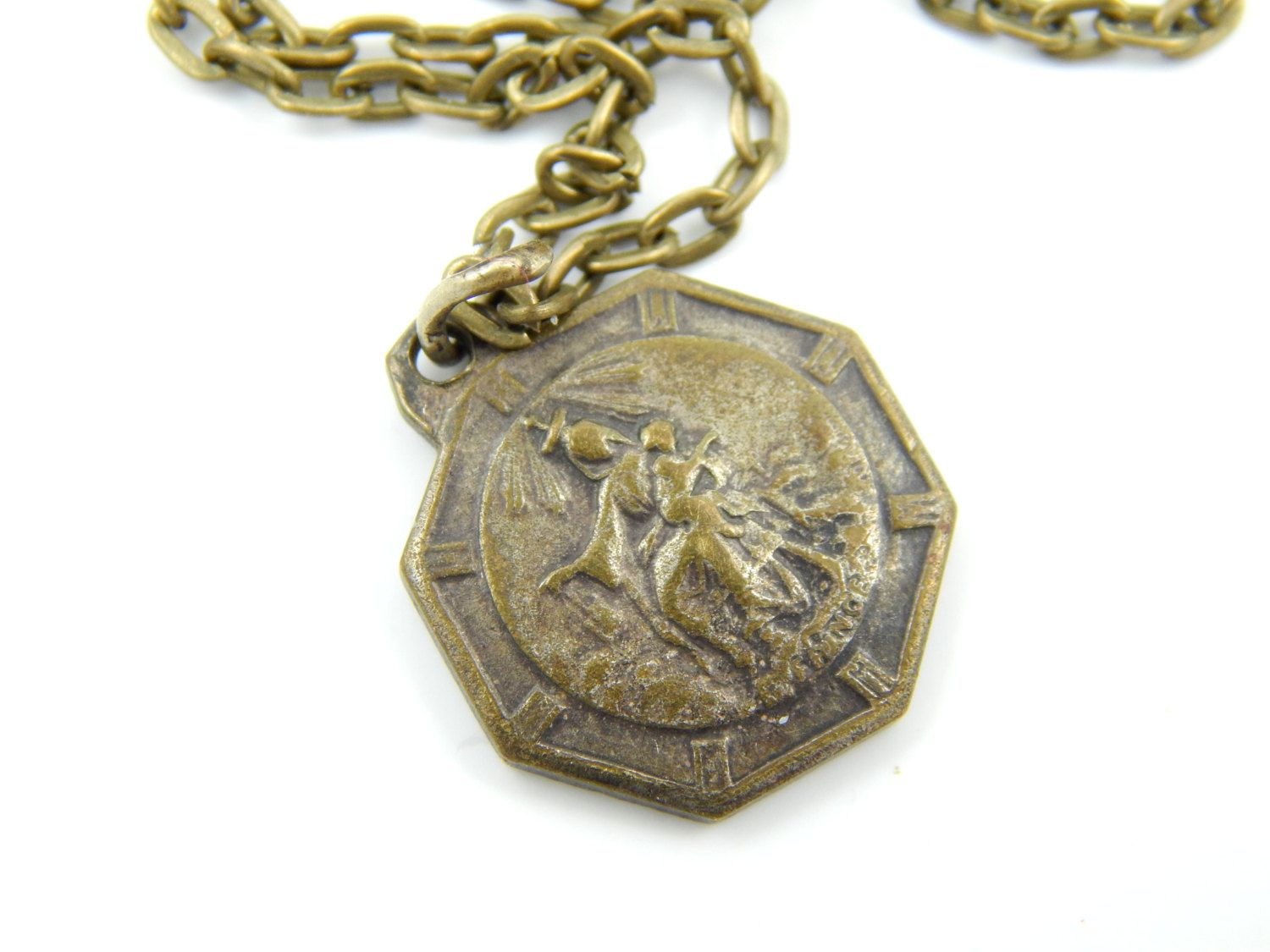 Our Lady of Mount Carmel Necklace - Vintage Sacred Heart of Jesus Catholic Medal - Virgin Mary Religious Charm Handmade Jewelry - U16 by LuxMeaChristus on Etsy