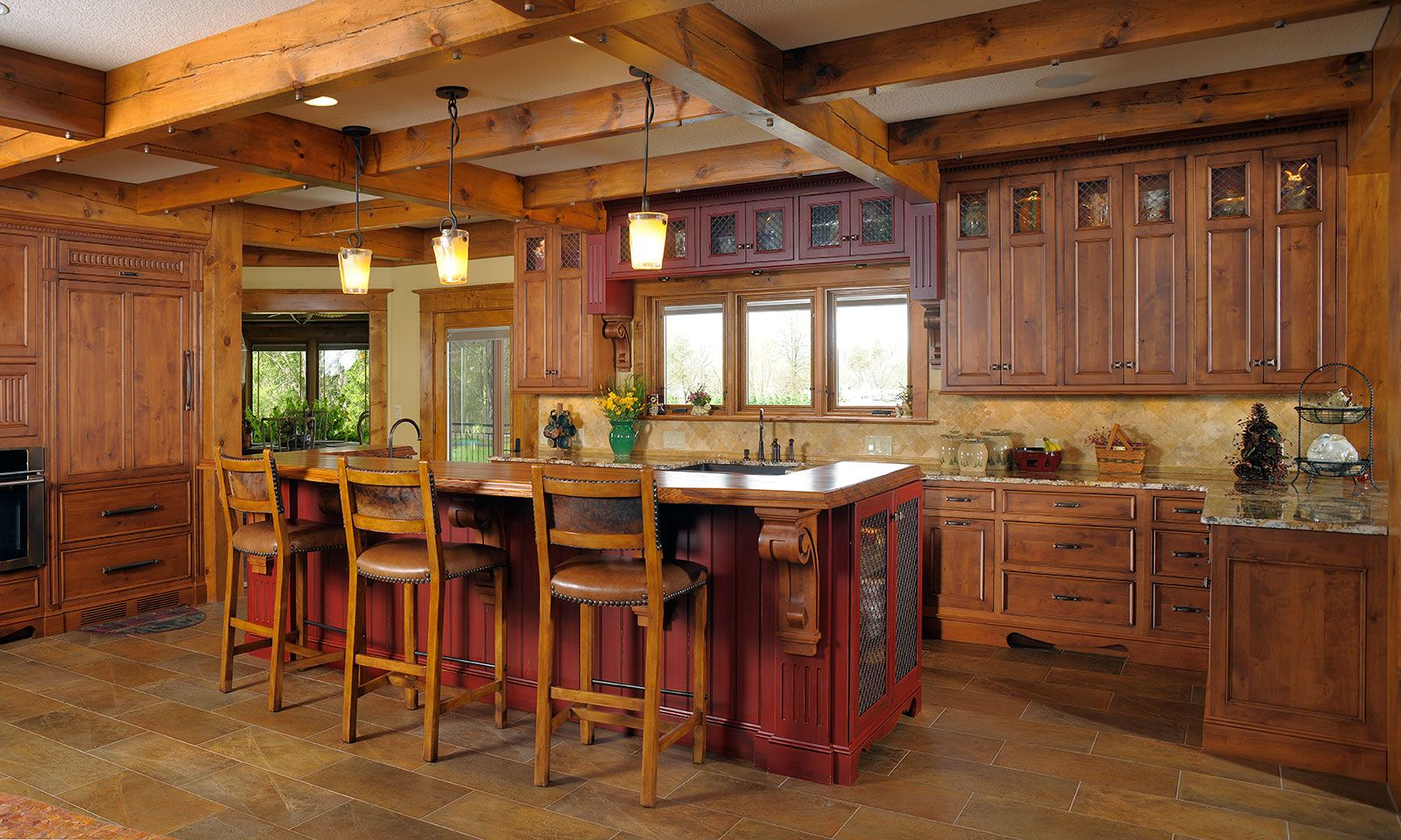 Perfect Mullet Cabinet   Rustic Kitchen Retreat Showcasing Knotty Alder Cabinetry.