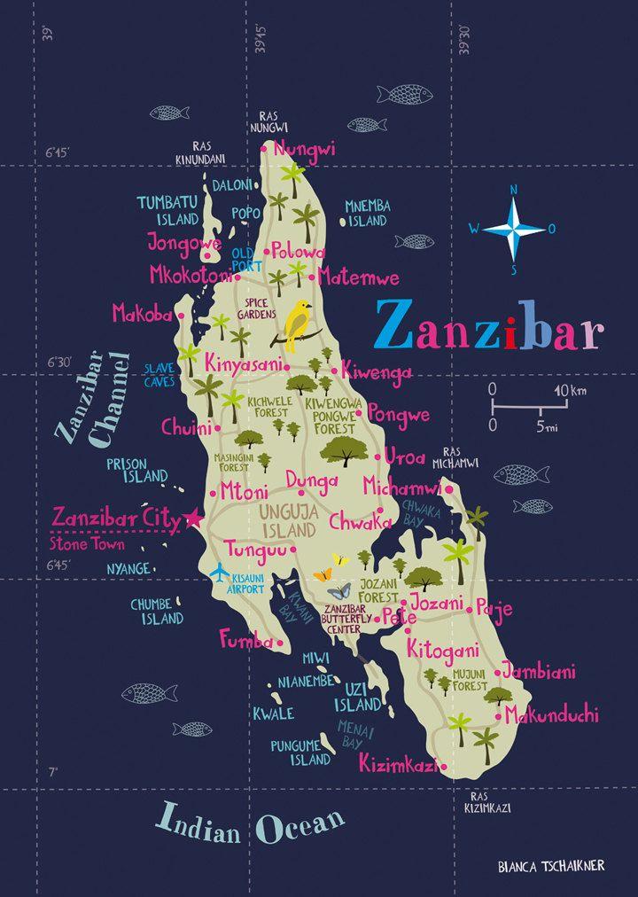 Illustrated Map of Zanzibar Limited Edition Print
