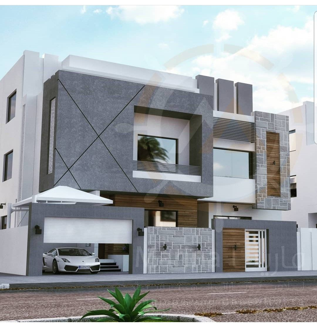 Modern House Bungalow Exterior By Sagar Morkhade Vdraw: 건축 디자인, 건축, 집 짓기