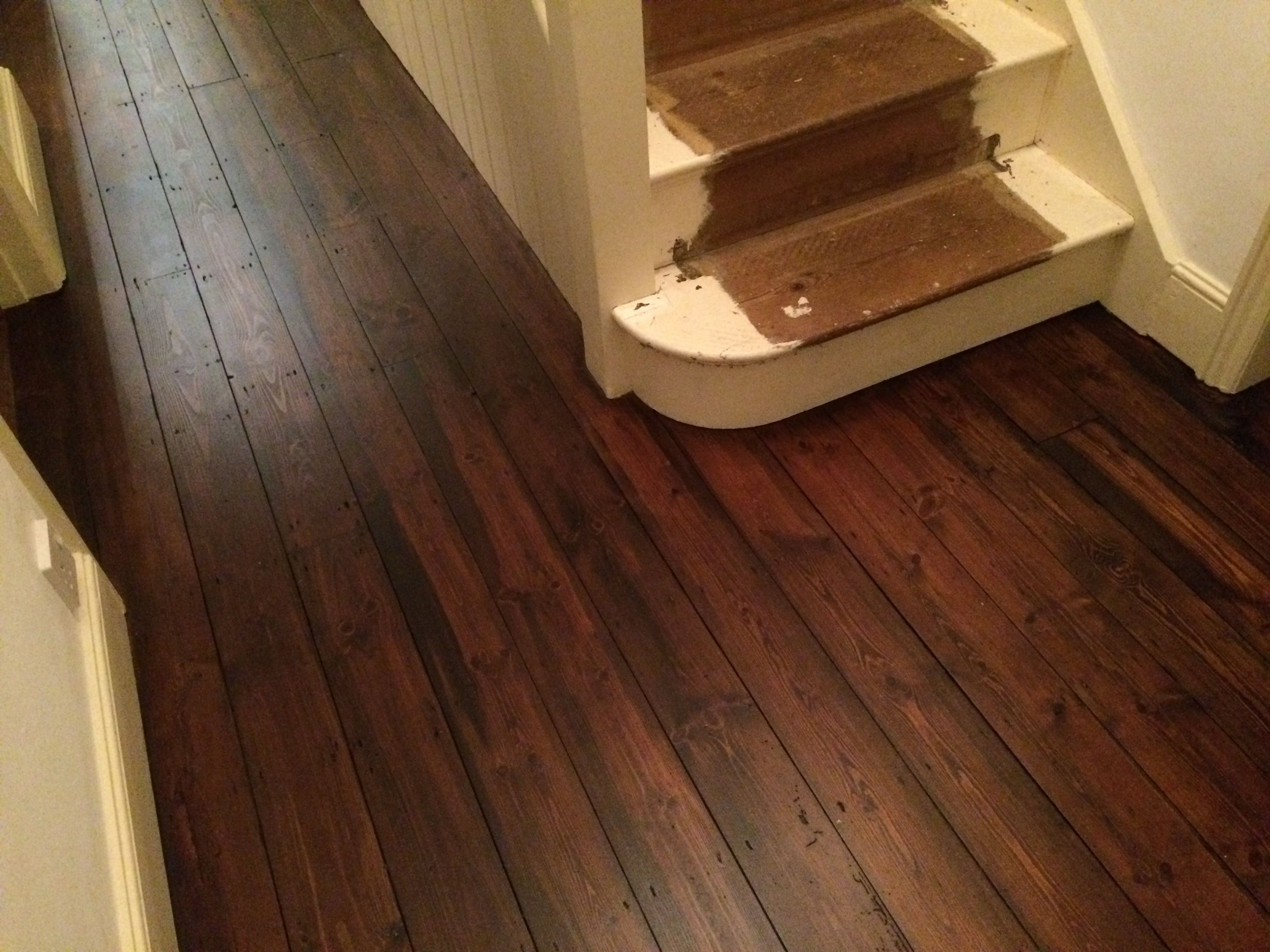 An Old Wood Floor Sanded Rich Walnut Stain Lied And Sealed