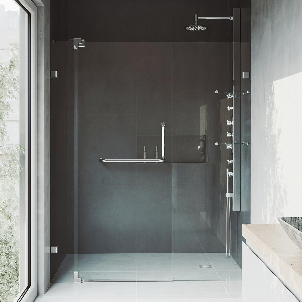 Vigo Pirouette 48 To 54 In X 72 In Frameless Pivot Shower Door