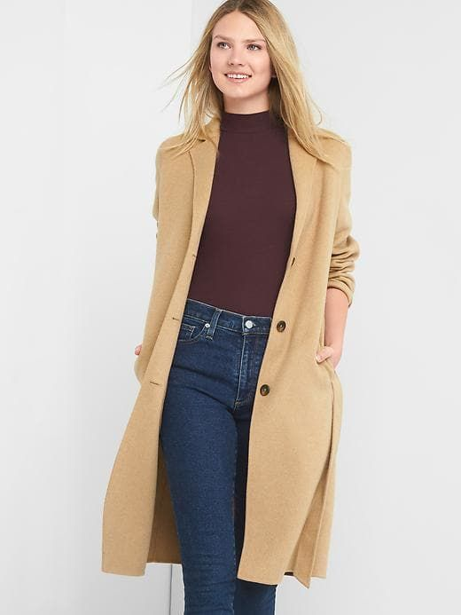 Gap Womens Classic Wool Coat Classic Camel
